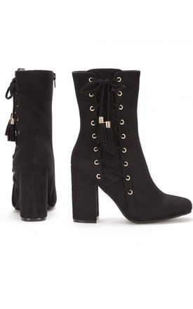 Black Lace Up Ankle Boots High Heels Shoes by Shoe Closet