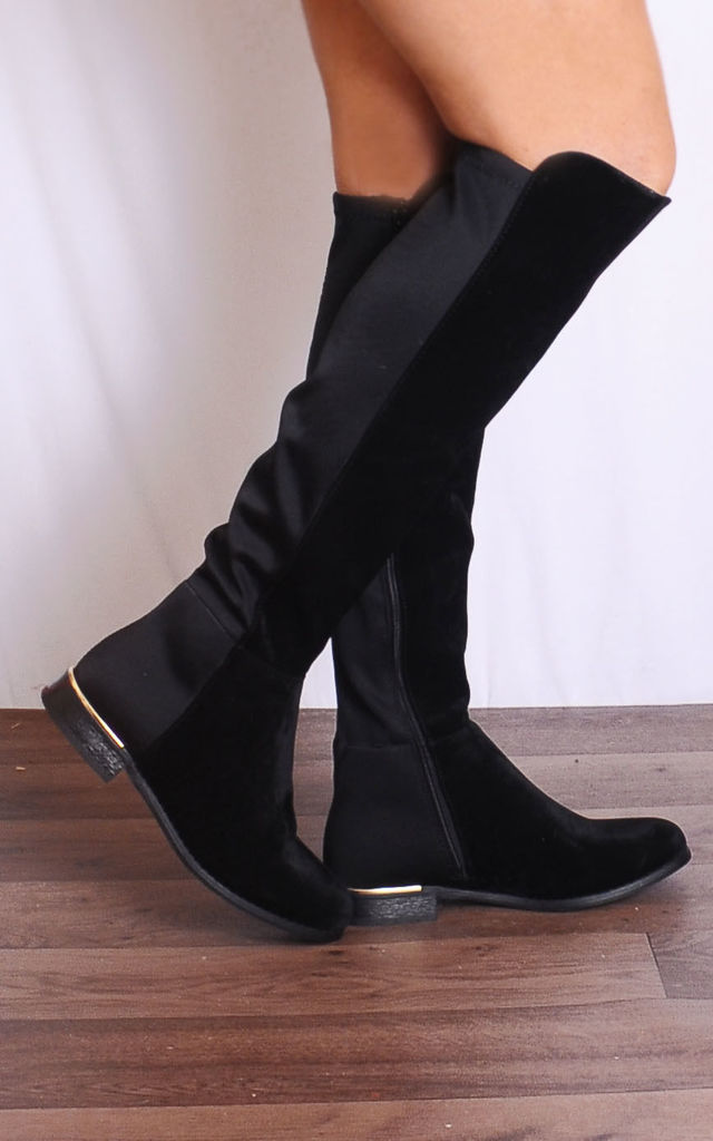 Black Knee High Gold Trim Boots by Shoe Closet