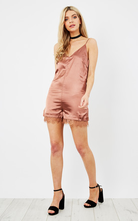 Rust Satin Strappy Playsuit by Glamorous Product photo