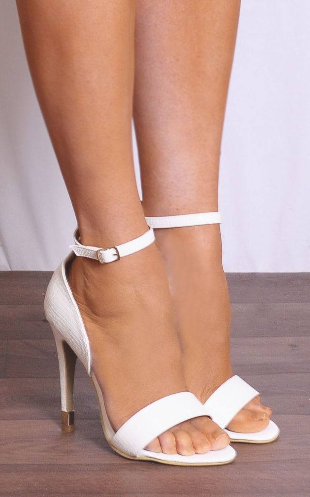 White Barely There Stilettos with Straps by Shoe Closet