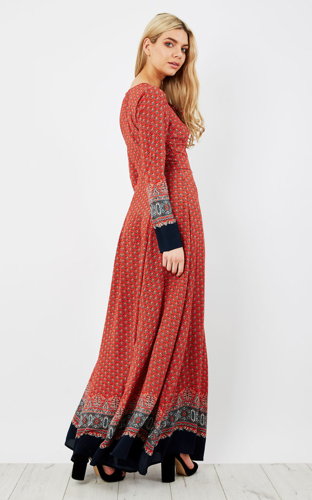 Red Navy Border Long Sleeve Up Maxi Dress by Glamorous