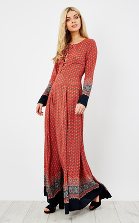 Red Navy Border Long Sleeve Up Maxi Dress by Glamorous Product photo