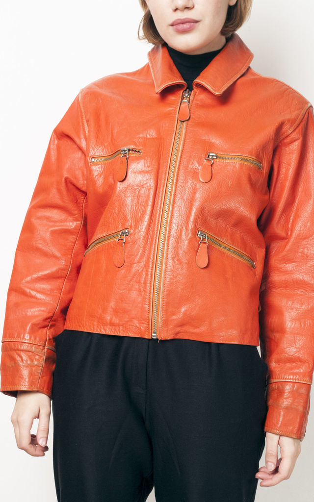 90s vintage orange cropped leather jacket by Pop Sick Vintage