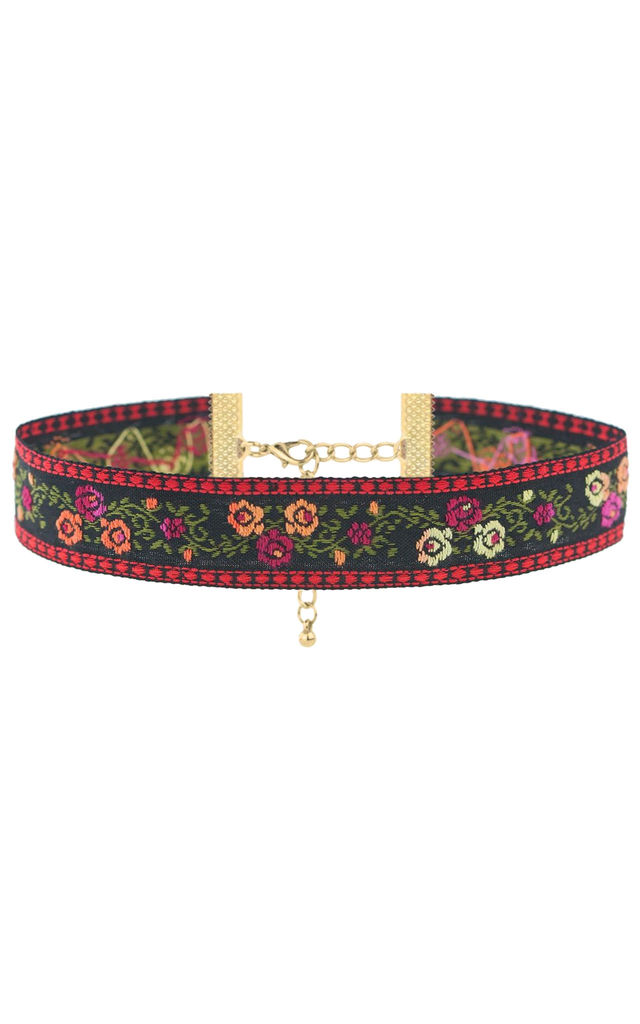 ROSANNA Floral Embroidered Choker by Rock N Rose