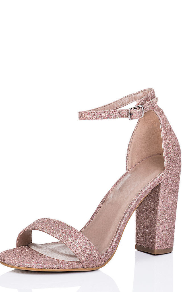 SASS Block Heel Barely There Sandals Shoes - Pink Glitter by SpyLoveBuy