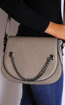 Bronze Chain Cross Body Flap Saddle Hand Bag by Tabitha Rose
