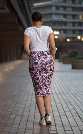 Quillattire Retro Rose Print Skirt by Quillattire