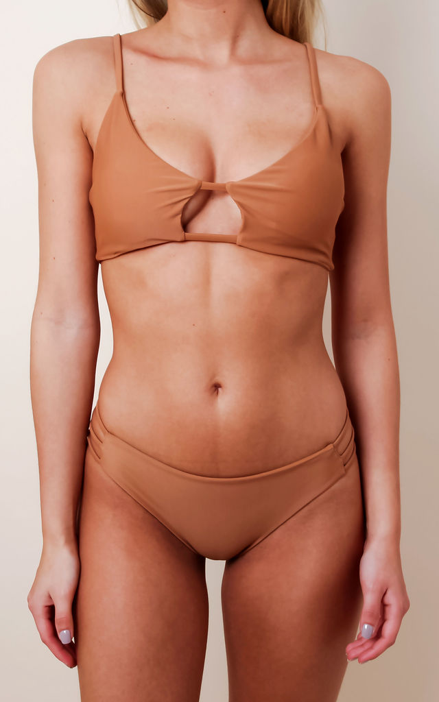 Cross Strap Bikini - Tan by Pretty Lavish