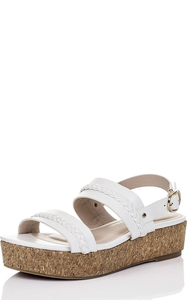 MELAYAN Platform Wedge Heel Flatform Sandals Shoes - White Leather Style by SpyLoveBuy