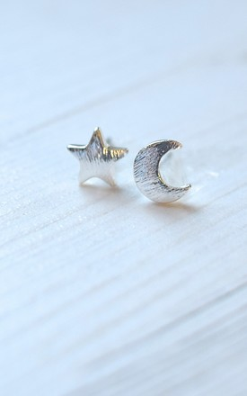 Silver Moon & Stars Earrings by Kate Canning Jewellery
