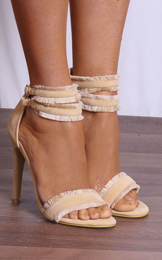 Nude Barely There Stilettos Peep Toes Strappy Sandals High Heels by Shoe Closet