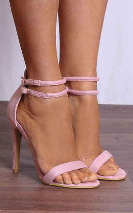 Baby Pink Barely There Stilettos Peep Toes Strappy Sandals High Heels by Shoe Closet