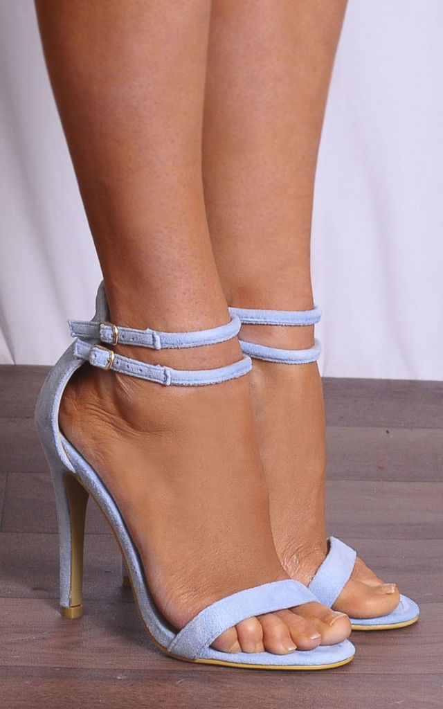 Baby Blue Barely There Stilettos Peep Toes Strappy Sandals High Heels by Shoe Closet