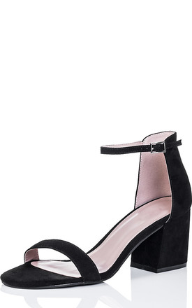 SKIPJACK Open Peep Toe Block Heel Barely There Sandals Shoes - Black Suede Style by SpyLoveBuy