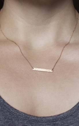 HAMMERED BAR NECKLACE (ROSE GOLD) by Fawn And Rose
