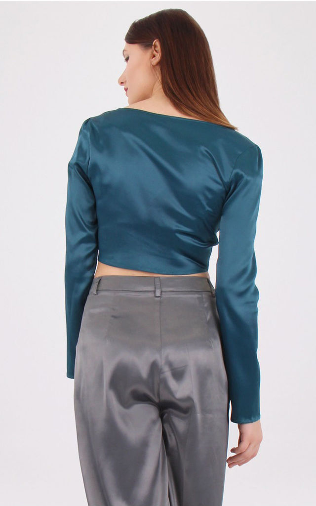 Long Sleeves Plunge Neck Satin Crop Top by MISSTRUTH