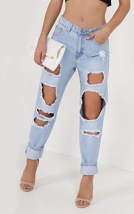 Mica Light Denim Distressed Boyfriend Jeans by The Fashion Bible