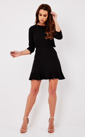 Black Long Sleeve Dress With Frill by John Zack Product photo