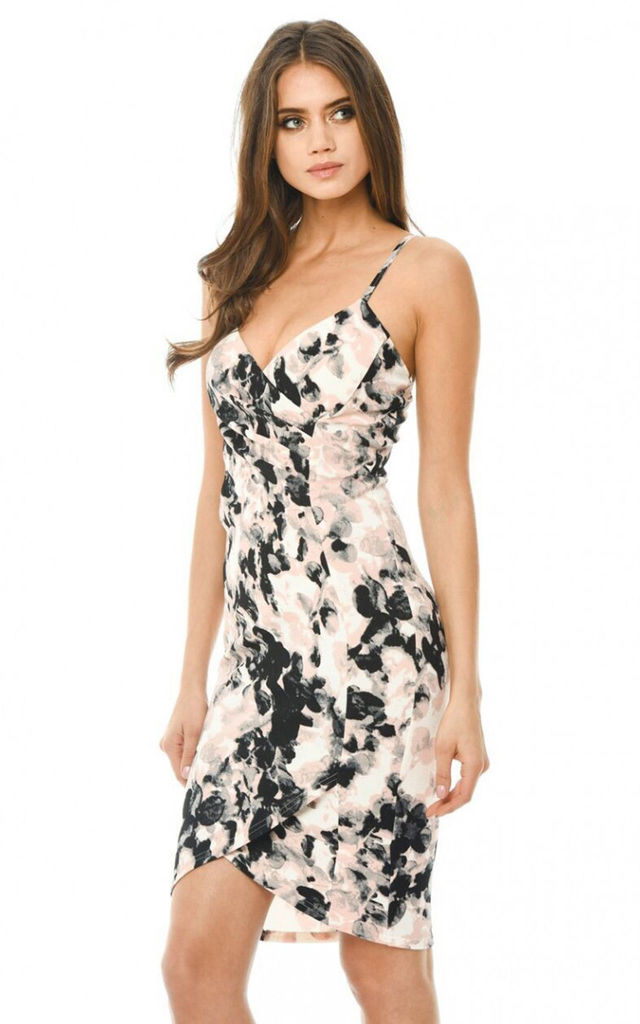 SMUDGE PRINTED BODYCON DRESS WITH WRAP FRONT by AX Paris
