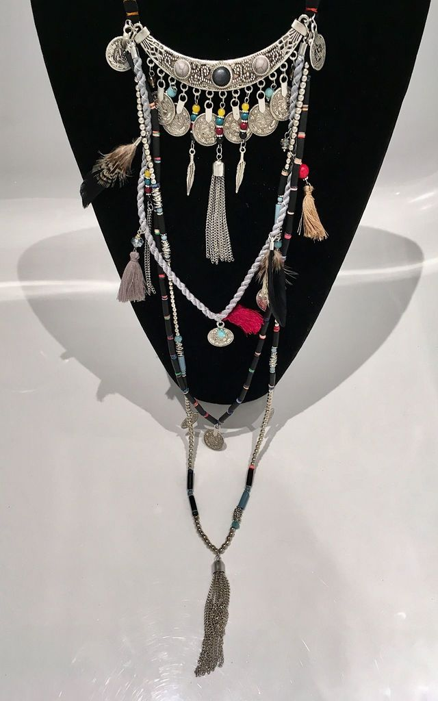 Long multi embellished black necklace by Lovelock jewels
