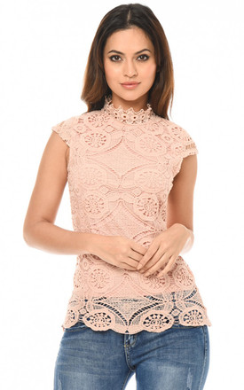 PINK HIGH NECK CROCHET TOP by AX Paris