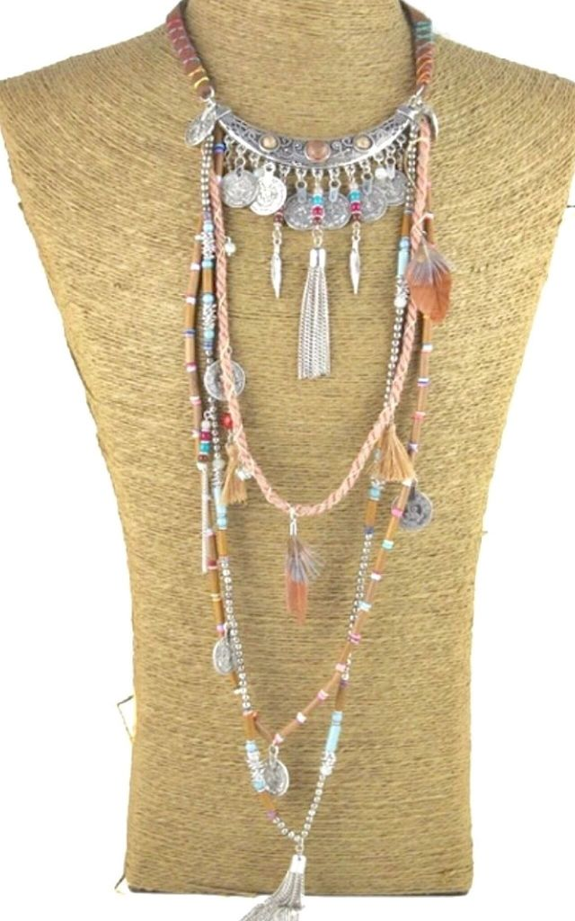 Long multi tassel boho necklace by Lovelock jewels