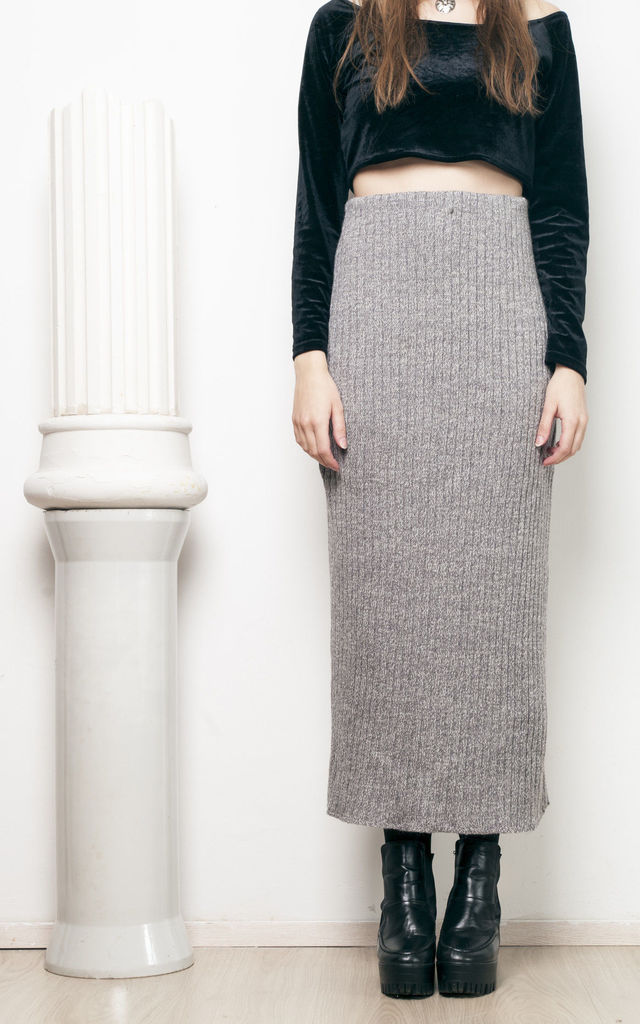 90s Vintage Knit Pencil Maxi Skirt Silkfred