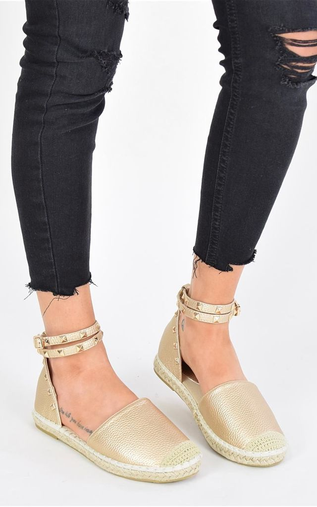 ELA Studded Espadrille Sandals - Gold by AJ | VOYAGE