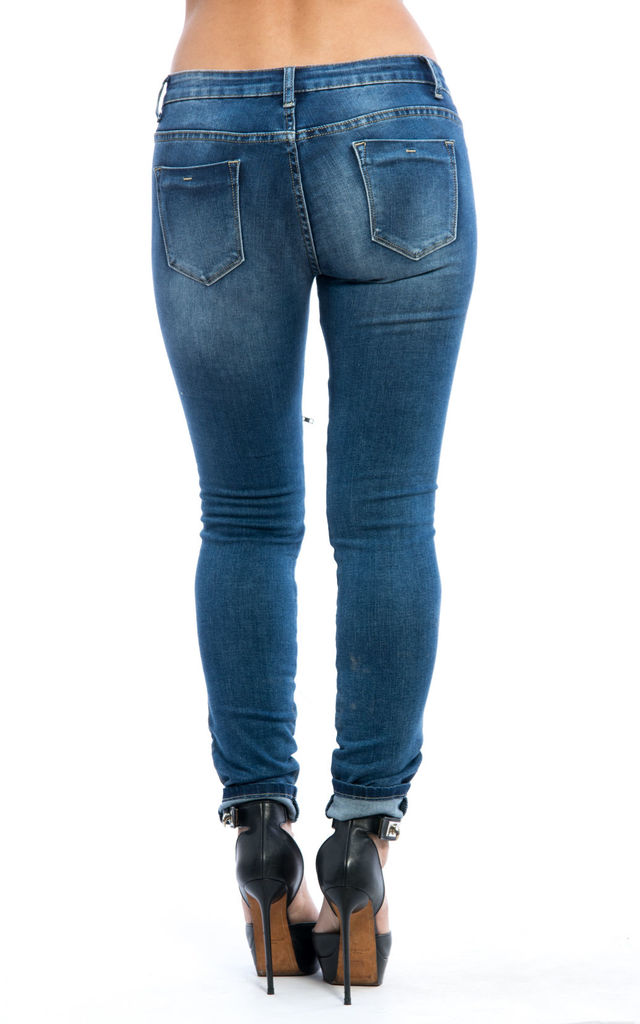 Full Zip Detail Mid Rise Denim Jeans by Npire London