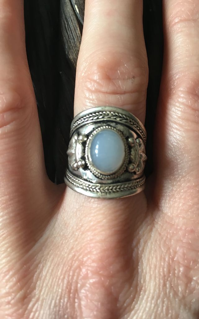 White opal silver ethnic ring by Lovelock jewels