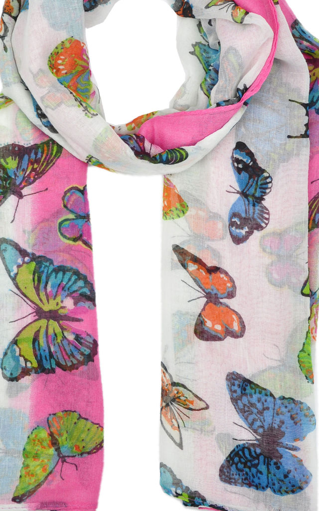 butterfly print scarf in neon pink by GOLDKID LONDON