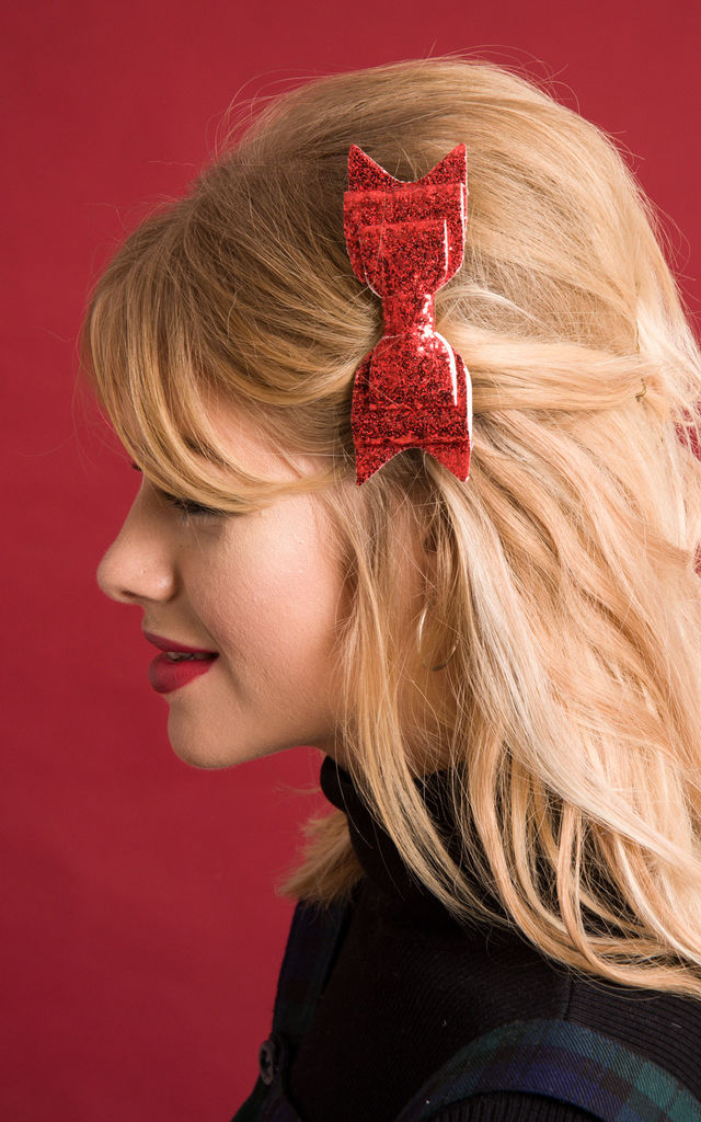 Red Glitter Hair Bow by Stephanieverafter