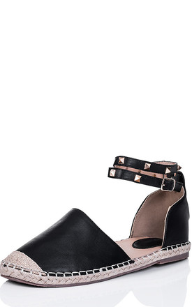 ARABELL Studded Flat Espadrille Sandals Shoes - Black Leather Style by SpyLoveBuy