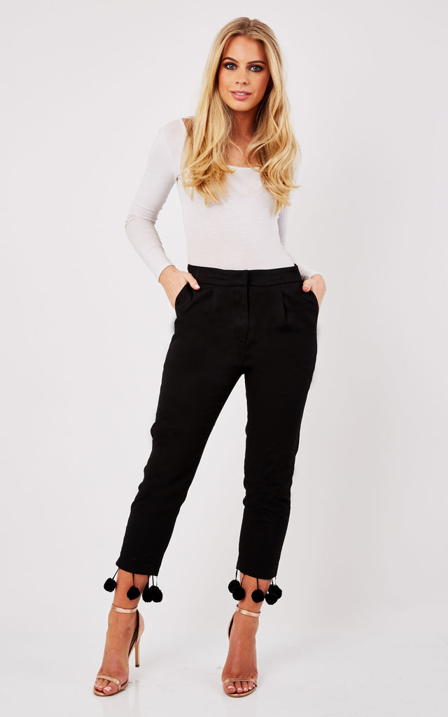 Slim fit cropped trousers with pom pom hem by Paisie