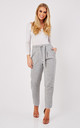 Peg leg trousers with d-ring belt in marl grey by Paisie