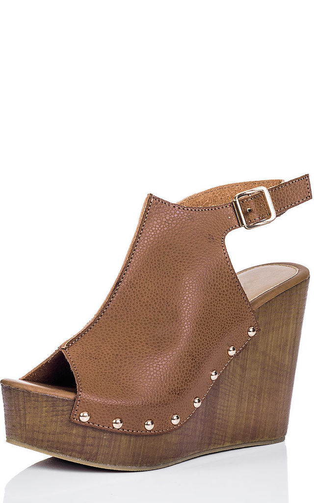 WOWED Platform Croc Print Wedge Heel Sandals Shoes - Tan Leather Style by SpyLoveBuy