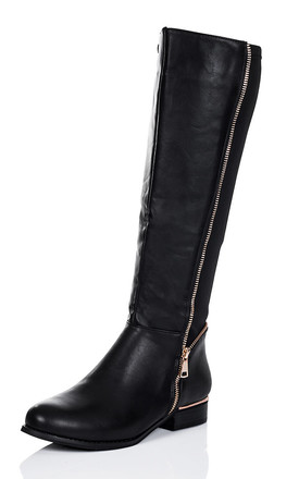 PROVENCE Zip Flat Stretch Knee High Tall Boots - Black Leather Style by SpyLoveBuy
