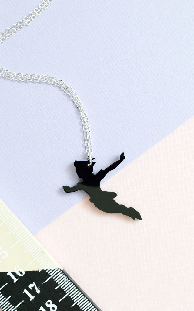 Black Silhouette Peter Pan Necklace by House Of Wonderland