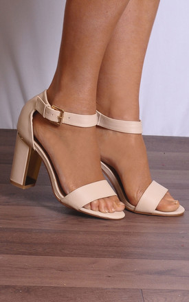 Black Nude There Strappy Sandals peep Toes High Heels by Shoe Closet