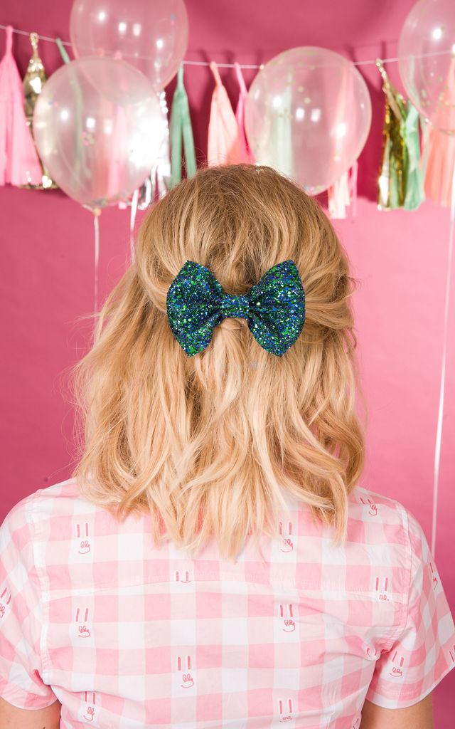 Mermaid Glitter Hair Bow by Stephanieverafter