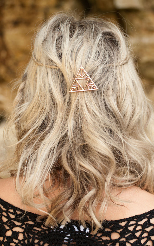 Rose Gold Triangle Hair Clip by Stephanieverafter