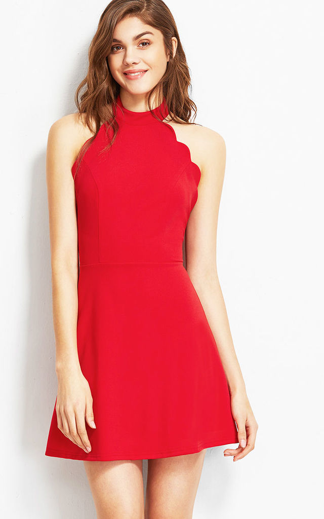 Red scallop high neck mini dress by Pretty Sunday