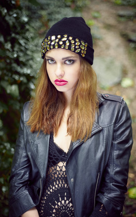 Black Embellished Beanie by Stephanieverafter