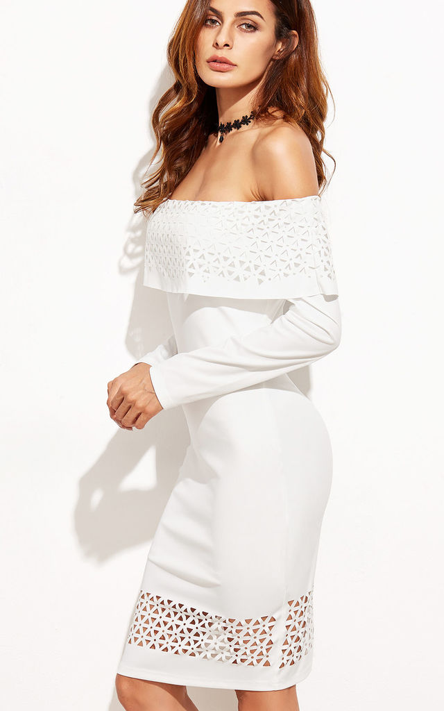 white bodycon dress cut out print off shoulder strapless by Pretty Sunday