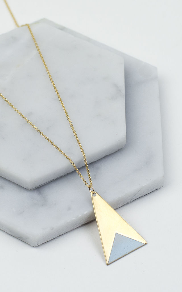 Long Brass Triangle Necklace by Fawn And Rose