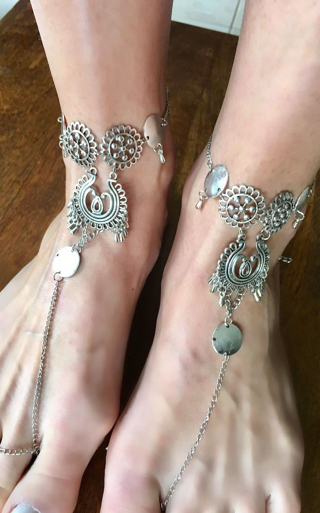 Filigree silver barefoot sandals, anklets by Lovelock jewels