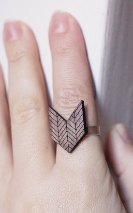 WOODEN HERRINGBONE CHEVRON RING by Fawn And Rose