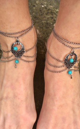 Turquoise and silver anklet by Lovelock jewels