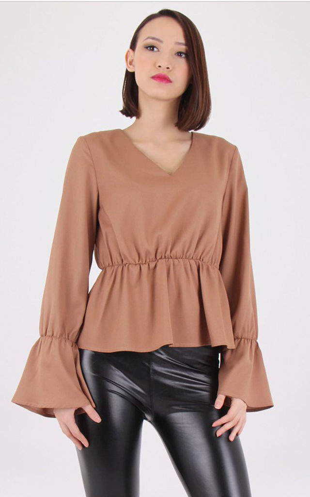 V-Necked Trumpet Sleeve Peplum Top by MISSTRUTH