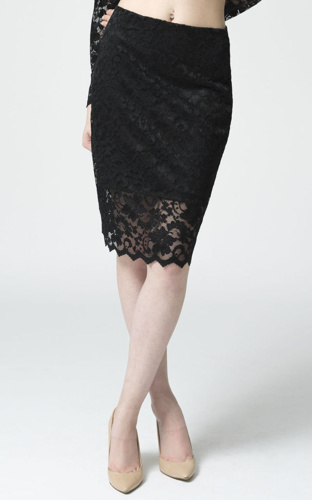 Lace Pencil Skirt by EL MONET